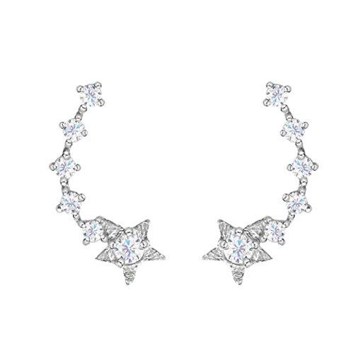 SELOVO 925 Sterling Silver Star Earring Cuff Ear Climber Cubic Zirconia Crystal Stud for Girls Women