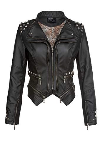 Chaqueta de motorista de piel sintética, ajustada, roquera, de estilo punk, con remaches, en color negro Negro negro 44 (Ropa)