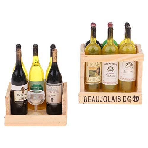 HomeDecTime 2 Juegos de Botellas de Vino en Miniatura, Caja de Madera con Imán Y Copa, Casa de Muñecas 1/12