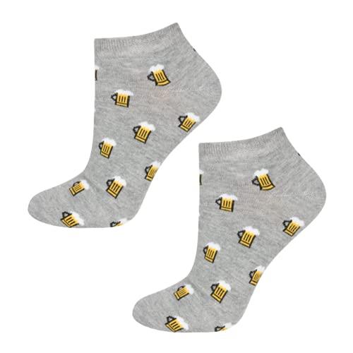 soxo lustige Herren Sneakersocken | Größe 40-45 | Bunte Herrensocken aus Baumwolle mit witzigen Motiven | Besondere, mehrfarbig gemusterte Socken für Männer | Bier