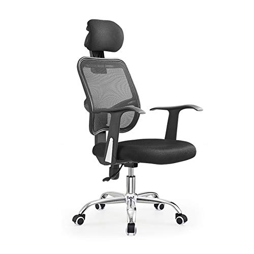 Silla de oficina ergonómica, silla de escritorio, silla de oficina, silla de oficina, silla de oficina, silla de trabajo, silla de sillón, silla giratoria, patas de acero, reposabrazos fijos, Material:, negro, talla