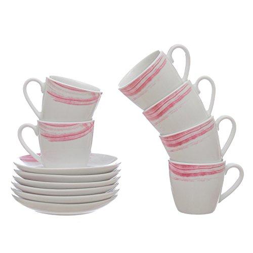 Set 6 tazzine da caff� Raily in porcellana, con piattino Rosa