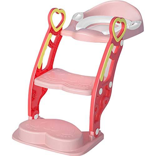 N \ A Rosado Toilet Seat Patrón de Corazón de DuraznoAdaptador Taza Bano con Escalera,Capacidad de Carga 60kg,Seguro, Antideslizante Acople Inodoro para Niños Pequeños y Adultos
