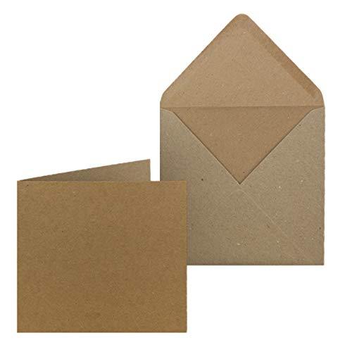 100x Kraftpapier Karten-Set inklusive Briefumschläge quadratisch - Braun - Größe Faltkarten (gefaltet): 14,5 x 14,5 cm - Umschläge 15,5 x 15,5 cm