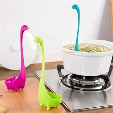 3 Colors Nessie Ladle Spoon Long Handle Spoon Nylon Standing Plastic Soup Spoon