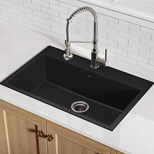 Kraus KGD-412B Quarza Granite Kitchen Sink, 30.75', Black 31.5 Inch