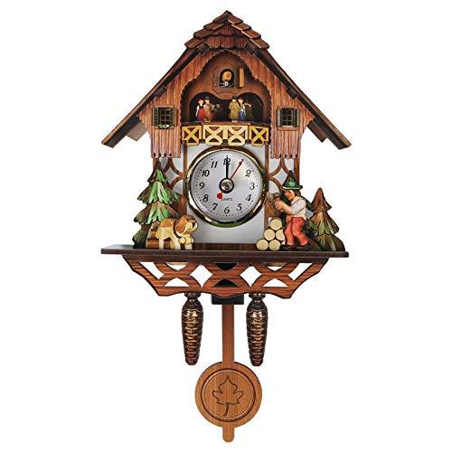 VOSAREA Reloj de pared de madera retro con forma de cuco para colgar en la pared, decoración antigua, péndulo para habitación de los niños, casa, salón, oficina, bar, hotel, cafetería (sin batería)