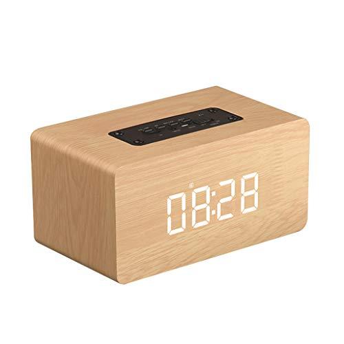 Bluetooth luidspreker, hout mini draagbare wekker voice call draadloze subwoofer HD audio en geluid bot 8 uur spelen