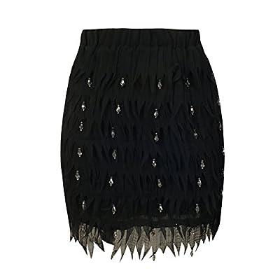 She'sModa Chiffon Feather Shape High-end Diamond Bead Women's Party Wedding Straight Mini Skirt