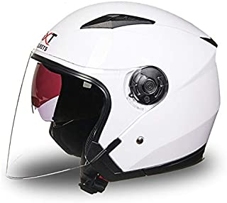 Leoie Half Face Helmet, Unisex Summer Motorcycle Helmet Sunscreen Open Face Helmet for Men/Women Bright White XL