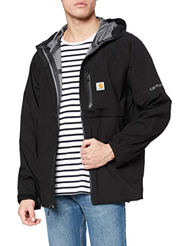 Carhartt Men's Big & Tall Storm Defender Force Midweight Hooded Jacket, Black, Large/Tall