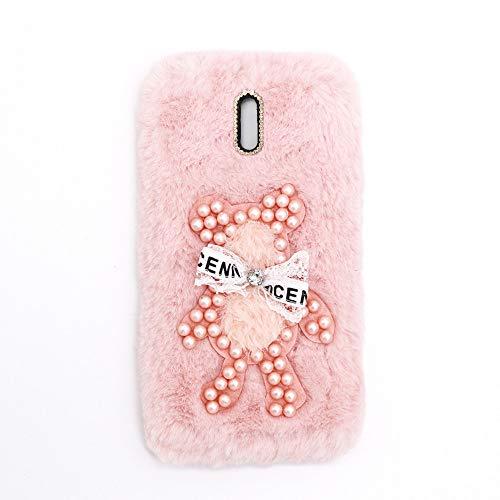 YHY Funda Teléfono Pearl Bear Plush para Samsung Galaxy J7 Plus Carcasa De Felpa De Silicona Suave y Elegante La Piel Rosado