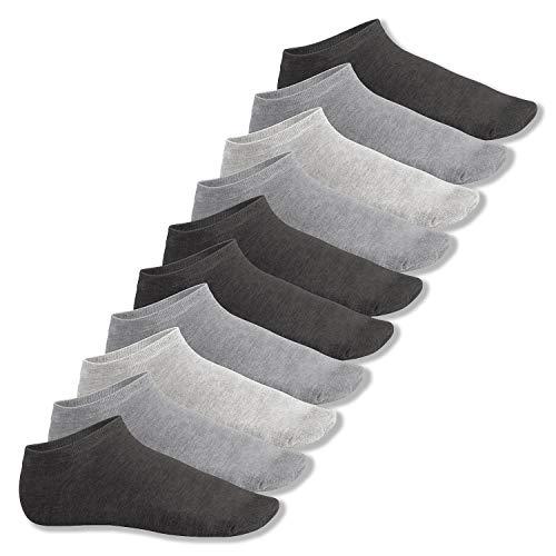 Footstar Herren und Damen Sneaker Socken (10 Paar), Kurze Sportsocken aus Baumwolle - Sneak It! - Classic Grey 39-42
