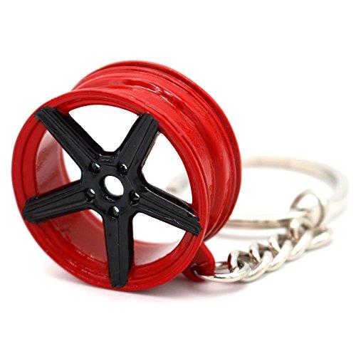 VmG-Store MB Style Design Felge Rot/Schwarz Schlüsselanhänger - massiver Anhänger OEM VAG Dub