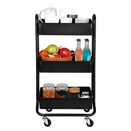 DESIGNA 3 Tier Metal Rolling Utility Storage Carts Little Organization Cart with Wheels for Office Indoor Home Kitchen Outdoor, Black