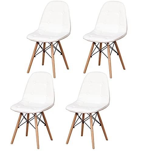Sillas Comedor Nordicas 4 Sillas con Patas de Madera de Haya para Sala, Comedor, Restaurante, Baño-4 Sillas (Blanco-4 sillas)