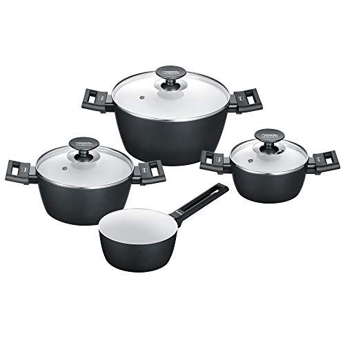 Berndes 013301 Induction Smart Set de 4 casseroles en aluminium Noir/blanc