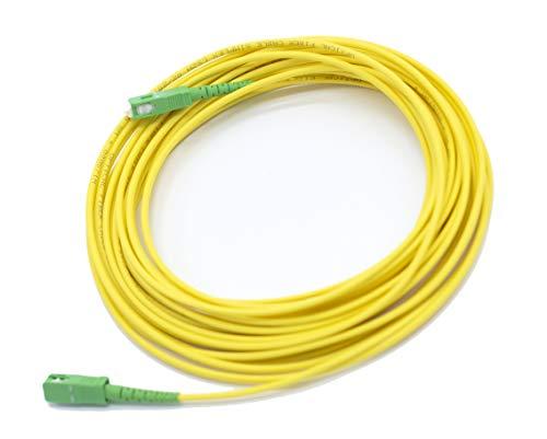 PRENDELUZ Cable Fibra ÓPTICA 10 Metros Universal - Color Amarillo SC/APC a SC/APC monomodo simplex 9/125, Compatible con Orange, Movistar, Vodafone, Jazztel.