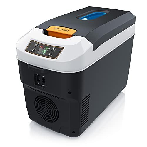 Brandson - Kühlbox elektrisch 10L – 230 V Netzspannung und 12 V KFZ Auto Bordspannung – kühlt und wärmt – Heizen max. 65°C – Herabkühlen ca 20°C unter der Umgebungstemperatur - ECO Modus – Cool Grey