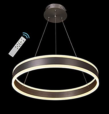 """Contemporary Chandeliers, 23.6"""" Modern 1 Ring LED Pendant Lighting with Remote Control Office Kitchen Ceiling Light Fixture Nickel, Warm White Meenyo"""