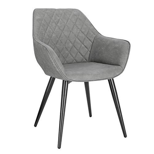 WOLTU Esszimmerstühle BH251gr-1 1x Küchenstuhl Wohnzimmerstuhl Polsterstuhl mit Armlehen Design Stuhl Kunstleder Metall Grau