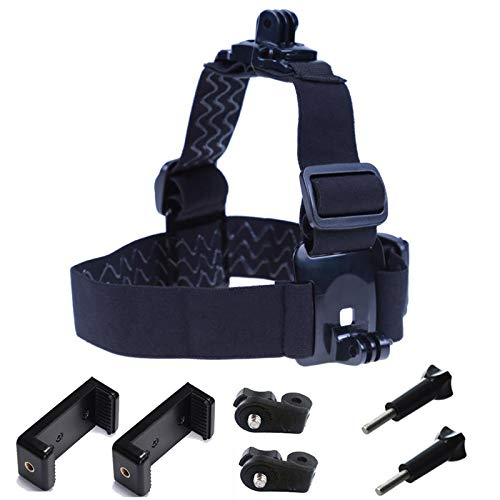 Supkeyer New Designed Dual Mount Cellphone Selfie Head Mount Strap Belt Adaptor for Action Camera/Gopro Hero/Cell Phone/iPhone 11 XR XS Max X 8 7 6 Plus Any Cellphone Selfie