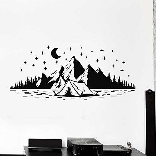 wopiaol Camping Vinyl Muursticker Voor Koelkast Decoratie Natuur Muurstickers Bergen Nacht Sterren Muren Home Decor Woonkamer