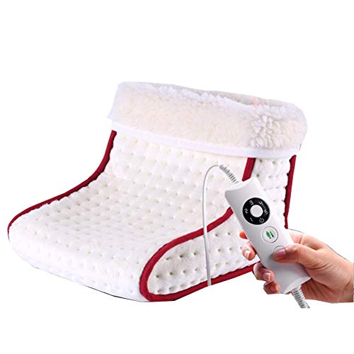 Deluxe Foot Warmer - Super-Soft Sherpa-Lined, Fast-Heating Electric Boots with 5 Temperature Settings, Machine-Washable Fabric, Durable Anti-Slip Sole
