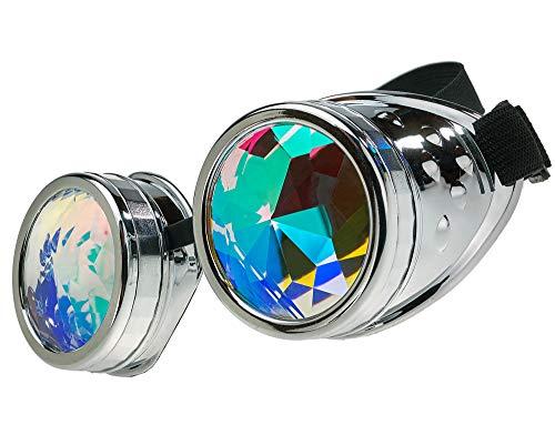 MFAZ Morefaz Ltd Schutzbrille Schweißen Sonnenbrille Welding Cyber Led Goggles Steampunk Goth Round Cosplay Brille Party Fancy Dress (Kaleidoscope Silver)