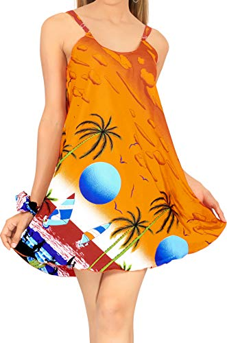LA LEELA Mini Vestito Elegante Casuale Aloha Altalena Spiaggia Allentata delle Donne Arancione_Z10 L