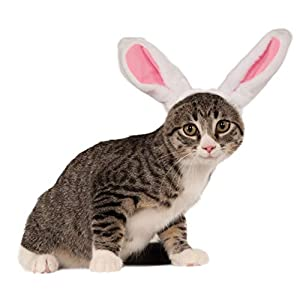Rubie's Bunny Ears for Your Pet, Small/Medium, White Pink