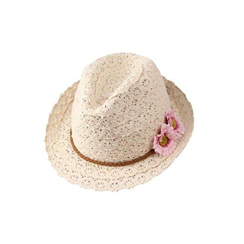 Toruiwa 1X Strohhut Damen Sonnenhut mit Blumen Decor Breiter Krempe Hut Strand Hüte Anti UV Hut für Frühling Sommer Herbst