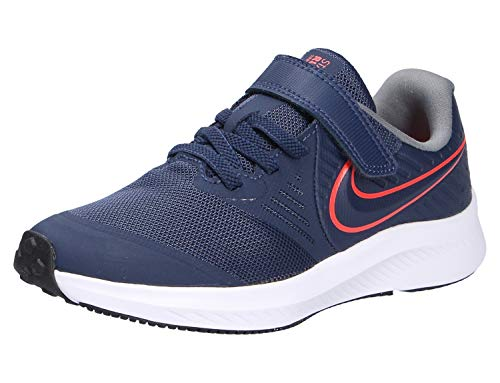 Nike Star Runner 2 (PSV), Zapatilla de Correr, Medianoche Navy/Bright Crimson/Smoke Grey, 33 EU
