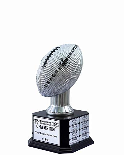 TrophySmack Perpetual Fantasy Football Trophy - Customizable Championship Trophy Award Winner | Free Engraving up to 19 Years Past Winners, 15 Inch Tall (Silver)