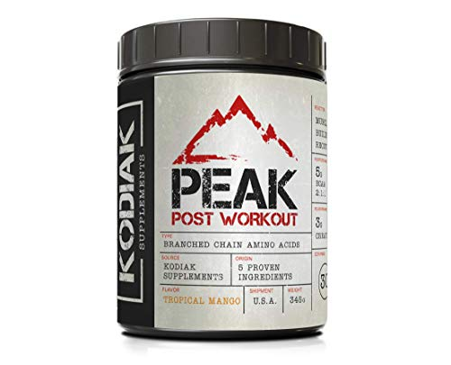 Peak Post Workout - BCAA 2:1:1 by Kodiak Supplements - Creatine - Glutamine - Muscle Recovery and Strength Building Supplement - 30 Servings - Tropical Mango