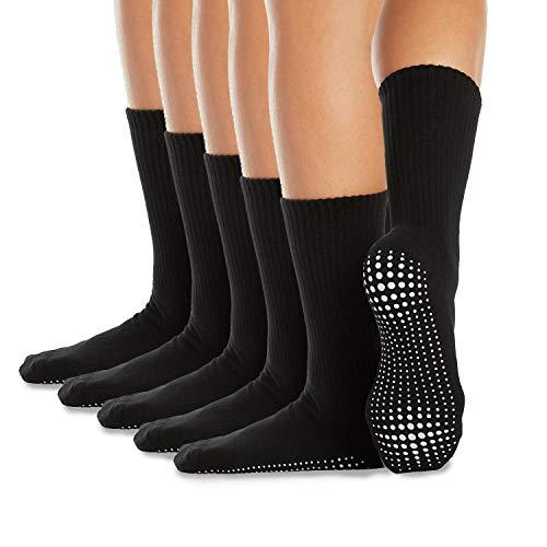 LA Active Calcetines Antideslizantes - 5 Pares - Para Yoga Pilates Ballet Barre Mujer Hombre Hospital - Crew (Negro x 5, L)