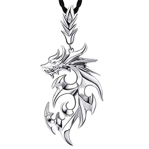 HAOYU Dragиоn de Plata esterlina s925 Colgante Collar de Grifo para Hombres dominante Dinero Masculino Colgante