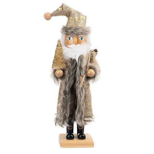 FUNPENY 19' Christmas Decorative Nutcracker, Handmade Wooden Santa Traditional Nutcracker in Flannel Ful Golden Coat, Festive Collectible Nutcracker, Winter Tabletop Christmas Decoration