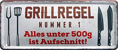 """Cartel de chapa con texto en alemán """"Grillrelgel 500G ist aufschnitt!"""" decorativo, cartel de metal para jardín o terraza, idea de regalo para cocineros 28 x 12 cm"""