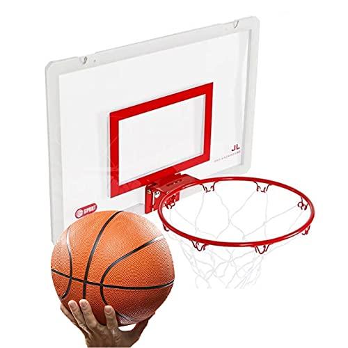 Canasta de Baloncesto Mini Kit De Aro De Baloncesto, 17x9.6 Soporte De Baloncesto De Pared Perforado para Interiores, Adecuado para Adultos Y Niños, con 2 Bolas De Baloncesto (Color : Black)