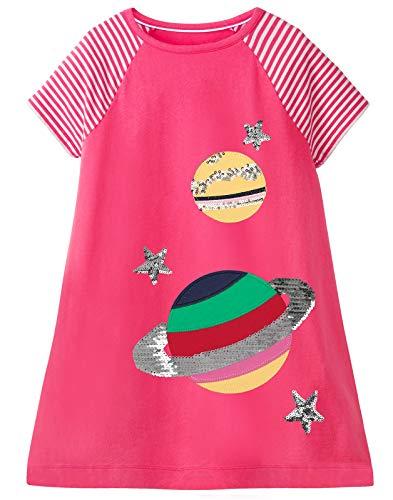 Fiream Girls Dress Star Galaxy Sequin Glitter Pink Summer Casual Cotton Short Sleeves T-Shirt A Line Cute Pretty Kawaii Applique Cartoon Dresses for Kids Clothes 7-8 Years,SS072