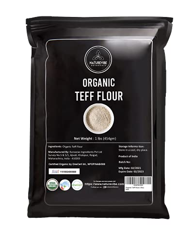 Naturevibe Botanicals Teff Flour, 1lb   Used for cooking (16 ounces)