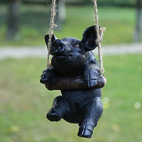 Kronleuchter El Columpio Cerdo Colgante de Resina Estatua Animal Jardín Crafts Decoración Adornos (Color : Black)