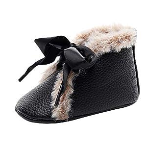 YWLINK Bebé NiñO NiñA Zapatos De AlgodóN OtoñO E Invierno Nuevas Serpentina De Lentejuelas con Zapatos De Bebé Botas MáS Terciopelo CáLido-Regalo De CumpleañOs Zapatos De Primer Paso(Negro,12EU)