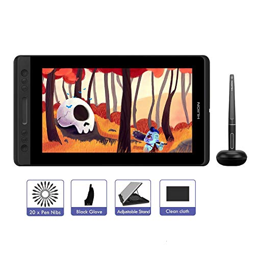 HUION KAMVAS PRO 13 Grafiktablett mit Display 13,3 Datterieloses Stift-Display mit 8192 Stufen Stiftdruck- und Kippfunktion, 4 Expresstasten und 1 Touch-Bar (GT-133)