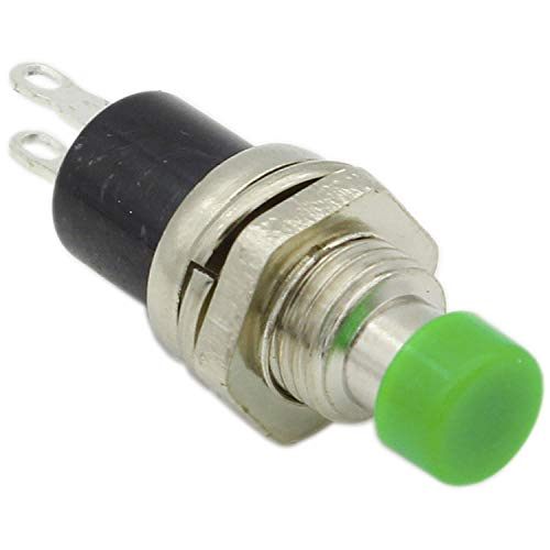 2 x 7 mm Interruptor de botón momentáneo de 2 pines mini botones ON/OFF con forma redonda Tensión nominal 3C/36V Color Verde