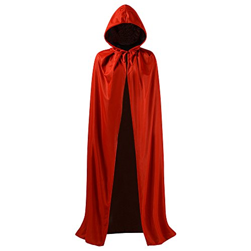 Black and Red Reversible Halloween Christmas Cloak Masquerade Party Cape Costume (47 inch, With Hood)