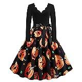 Vestido de cóctel para mujer, Halloween, fiesta, calabaza, calavera, vestido de columpio, vintage, estampado floral, disfraz de Rockabilly Swing vestidos para mujer