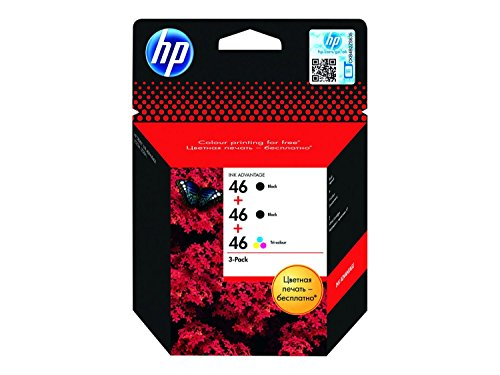 HP 46 3-pack Black(2)/Tri-color(1) Original Ink Advantage Cartridges - Cartucho de tinta para impresoras