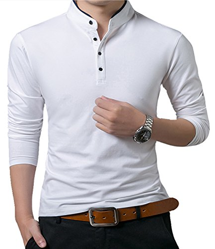 KUYIGO Men's Casual Slim Fit Shirts Long Sleeve Polo Shirts Cotton Shirts White Large